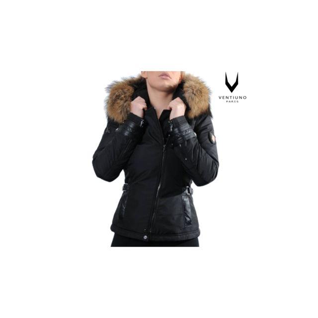cbbb3e7dcc Ventiuno - Emily - Sofia Ventiuno Blouson noir Grosse fourrure véritable et  cuir d'agneaudoudoune