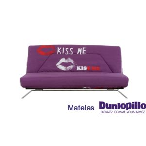 trendy relaxima banquette lit clic clac imprim violet metalik kiss me matelas mousse dunlopillo. Black Bedroom Furniture Sets. Home Design Ideas
