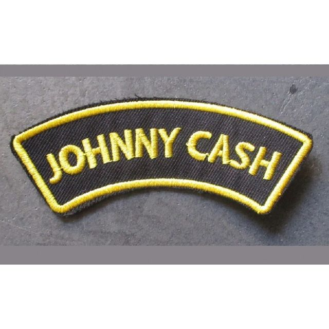 Universel Patch johnny cash banderolle noir jaune ecusson country rock