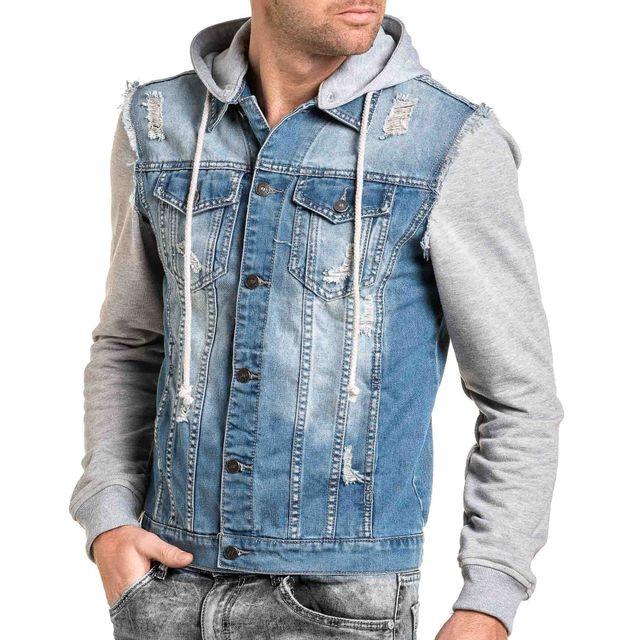 BLZ Jeans - Veste en jean bleu délavé et sweat gris - pas cher Achat ... 88530770309f