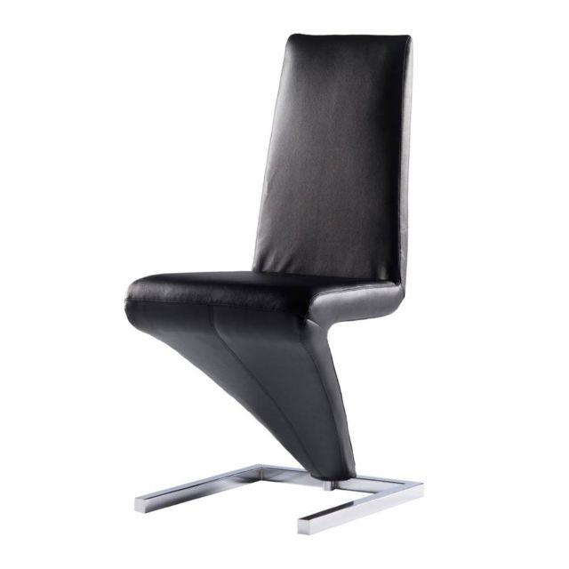 IntÉRIEUR Discount X 2, Chaise design simili-cuir noir Diapason