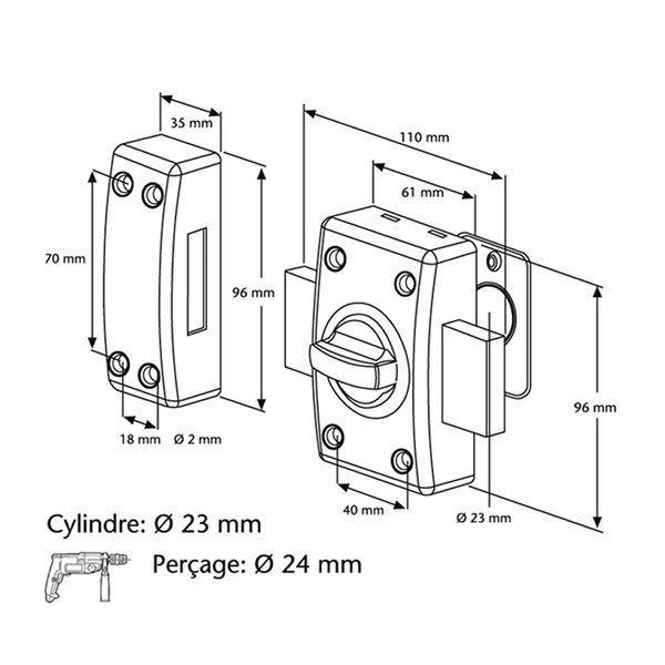 Abus - Verrou de sécurité de porte à bouton Cylindre 50 mm