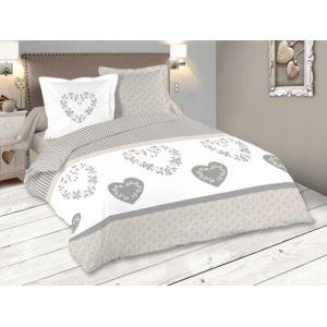 stof parure housse de couette coton taie c ur rosace rayures beige gris manoir 240x220cmnc. Black Bedroom Furniture Sets. Home Design Ideas