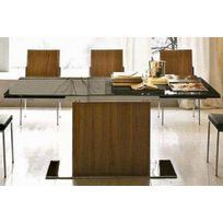 Inside75 - Calligaris Park table repas extensible haut de gamme 180x100 en verre noir et noyer