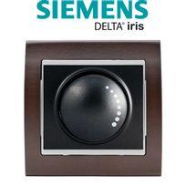 Siemens - Va et Vient Variateur 500W Anthracite Delta Iris + Plaque Bois Wengé