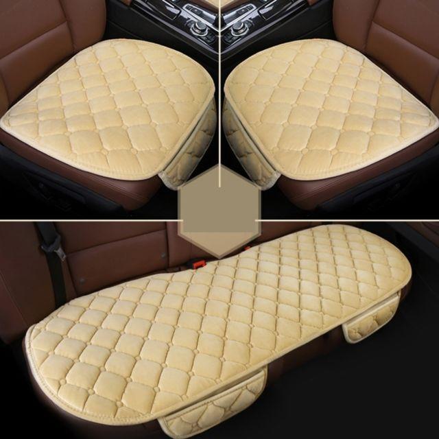 Wewoo 3 Pcs / Set Luxueux Chaud Coussin De Couverture De Siège De Voiture Universel Avant Couvre-sièges Arrières De Pad Anti-d