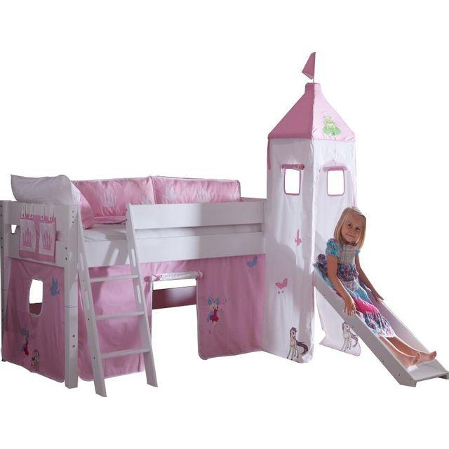 comforium lit sur lev avec toboggan 90x200 coloris rose chateau princesse blanc nccm x nccm. Black Bedroom Furniture Sets. Home Design Ideas
