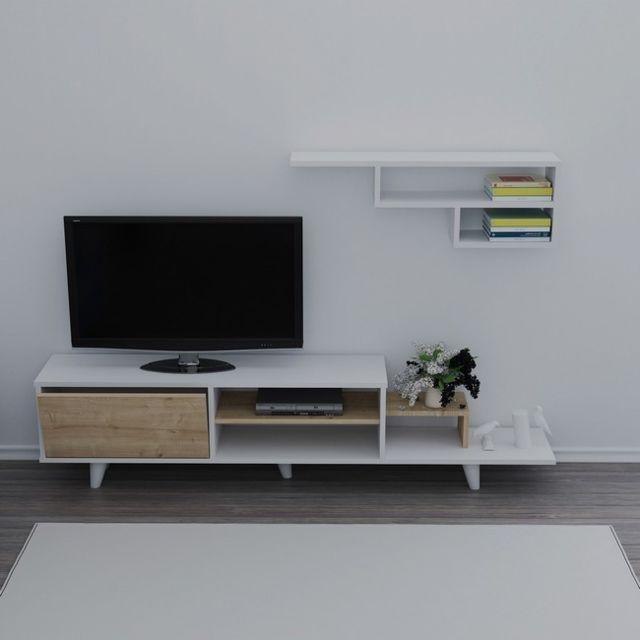 Homemania Doruk Meuble Tv avec étagères, portes, tablettes - du salon -blanc, Chêne en Bois, 180 x 29,5 x 45 cm