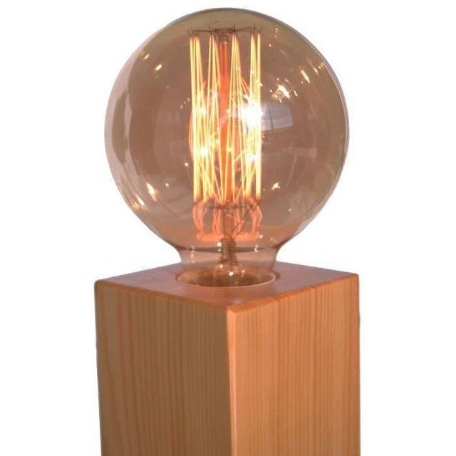 Aucune Cubo Lampe En Bois Finition Hetre Sans Abat Jour Ideal Avec