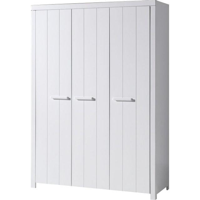 Comforium Armoire 144 cm à 3 portes en pin massif et Mdf coloris blanc