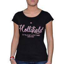 Hollifield - T Shirt Manches Courtes - Femme - Fts 009a - Noir