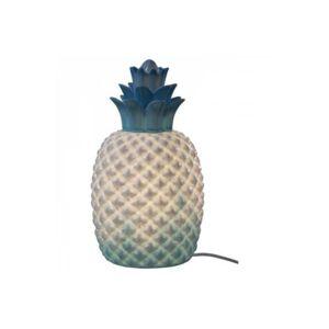 Declikdeco - Lampe A Poser En Céramique Ananas Bleue H30 Abaca 17cm x 30cm x 17cm