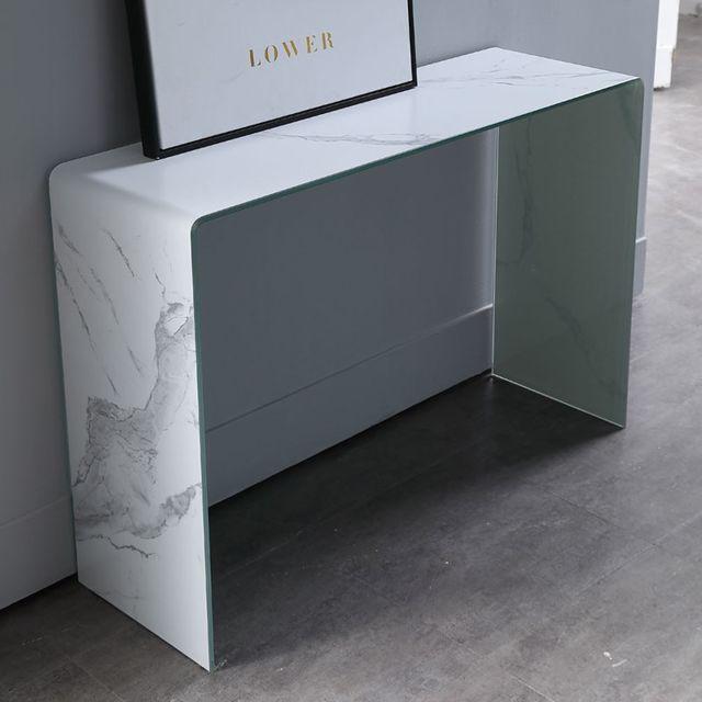 Meubler Design Console effet marbre Lower - Blanc