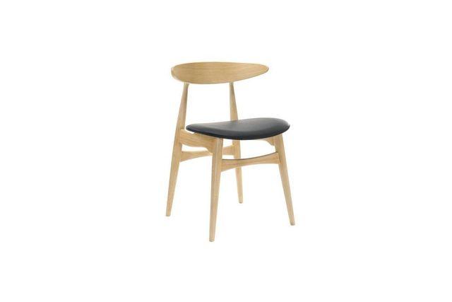 Miliboo Chaise bois clair et Pu noir design scandinave japonais Walford