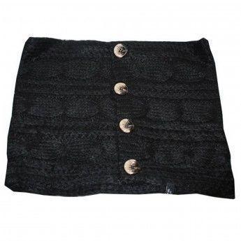 Hellocadeau - Echarpe grosse maille femme avec boutons- Coloris noir ... 32edb4e894d