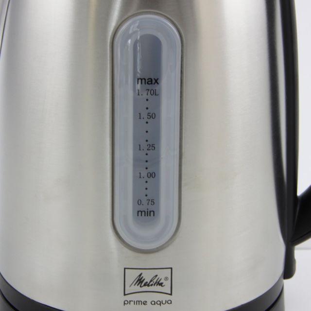 MELITTA BOUILLOIRE PRIME AQUA NOIR/INOX Bouilloire moderne avec une capacité de 1,7 L, Pour la préparation de boissons chaudes comme le thé, café ou l'aide à la préparation culinaire et les soupes.