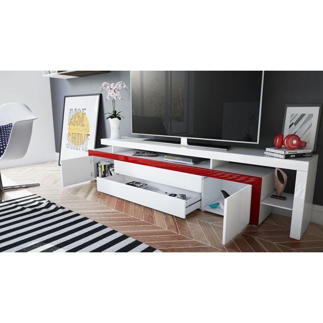 Mpc Meuble Tv Mure Blanc Laque 227 Cm Avec Led Pas Cher Achat