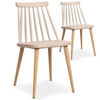 "Paris Prix - Lot de 2 Chaises Scandinave ""Beaune"" 77cm Beige"