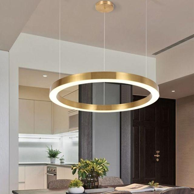 Lampe Suspendue Luminaire Salon 24w Atmosphere Moderne Et Simple Accueil Personnalite Creatrice Salon Restaurant Lustre En Anneau Diametre 40