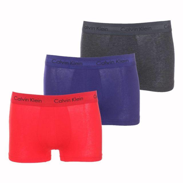 44d83545c4c Calvin Klein - Lot de 3 boxers Low Rise Trunk en coton stretch rouge ...