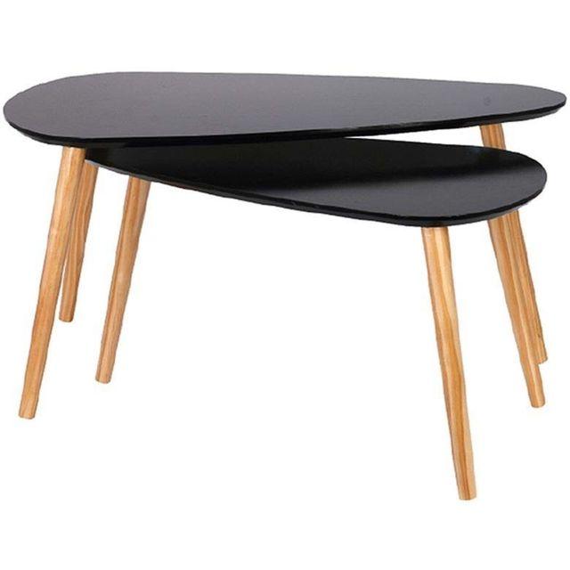 THE HOME DECO FACTORY Tables gigognes en bois galet Lot de 2