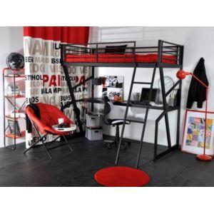Vente unique lit mezzanine teenager 90x190cm bureau int gr anthracit - Lit mezzanine vente unique ...