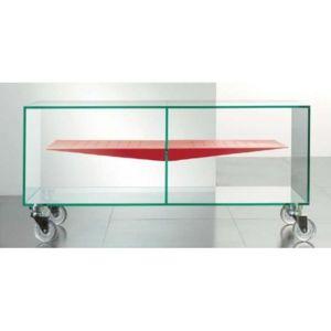 inside 75 meuble tv malta en verre tag re centrale rouge transparent pas cher achat vente. Black Bedroom Furniture Sets. Home Design Ideas