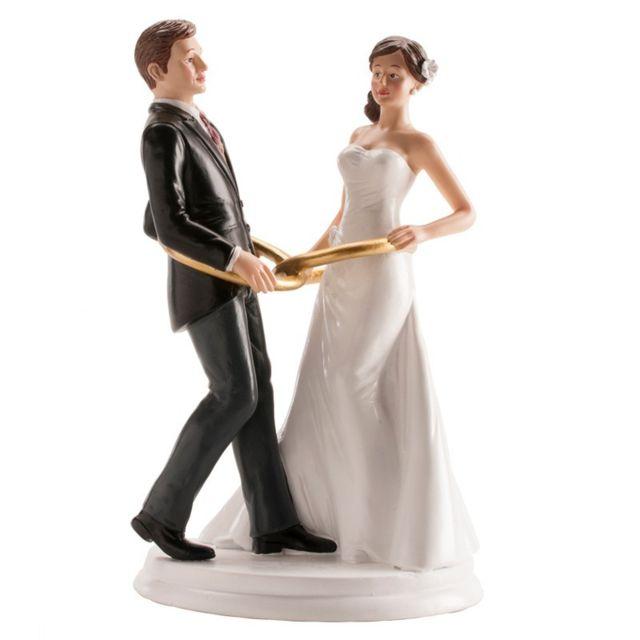 Figurine Couple Marie Avec Anneaux Decoration Gateau Mariage 804