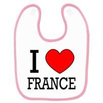 7e1e08822e8e Mygoodprice - Bavoir bébé imprimé peace   love drapeau France Rose ...