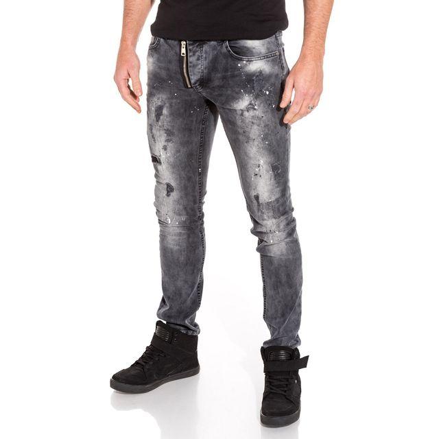 BLZ Jeans - Jean homme slim gris délavé zip fantaisie taches peinture 43c2b74c8fee