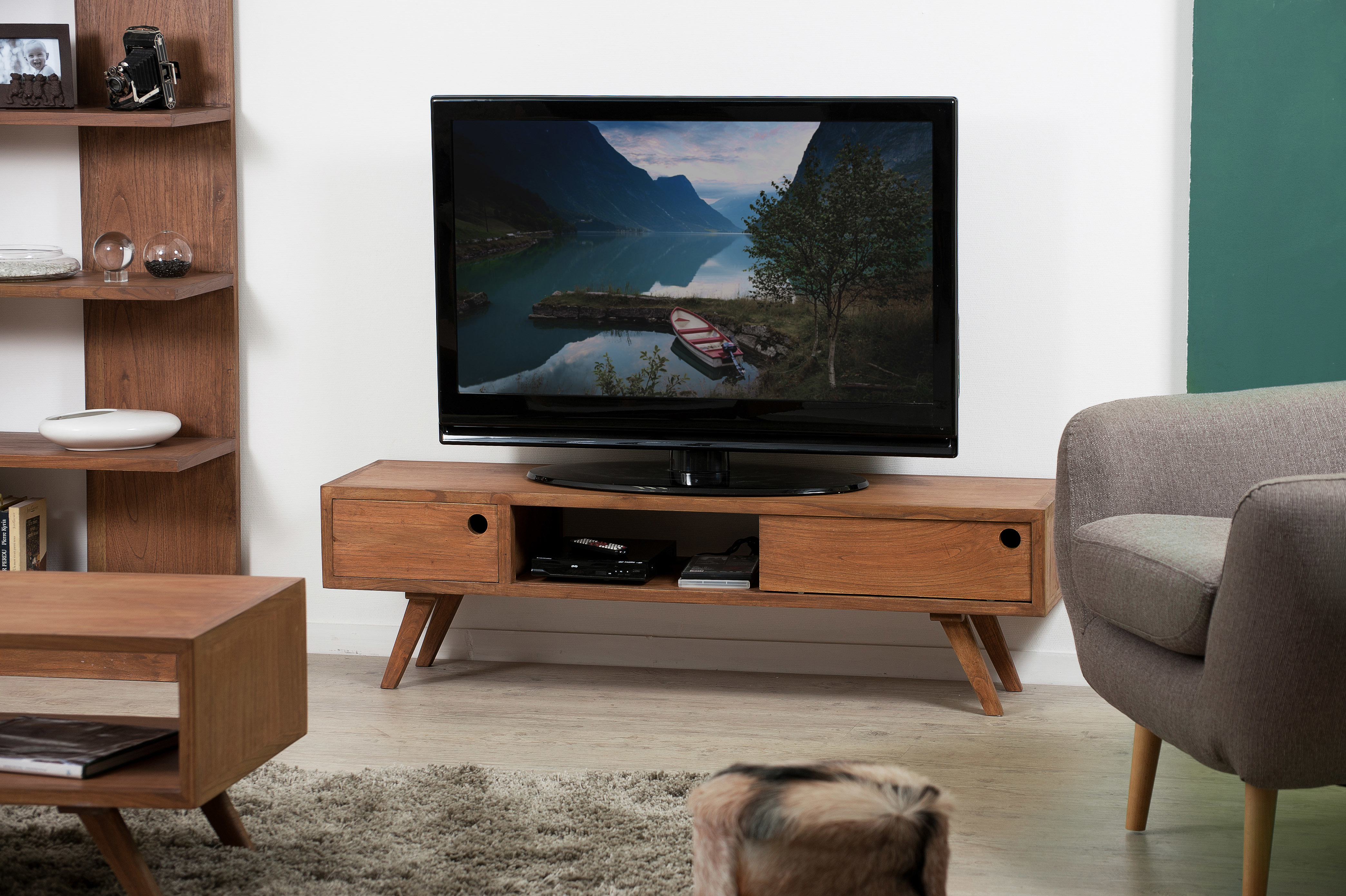 macabane - banc tv avec porte coulissante marron - pas cher achat