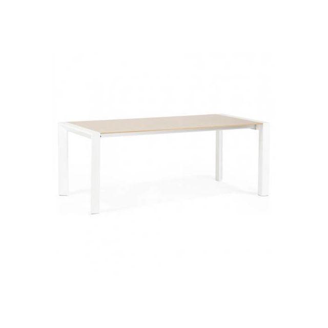 TECHNEB Table design avec rallonges SOLO en plaqué chêne et métal 190/270cmX95cmX74cm, bois naturel