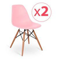 Novara Mobili - Pack 2 chaises Wood Style Light Pink avec pieds en bois de hêtre
