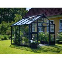 Habitat et Jardin - Serre verre Premium - Gris anthracite - 8,8 m² - 2,96 x 2,96 x 2,67 m