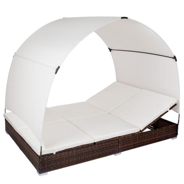 1b867cf58f4002 Autre Chaise longue bain de soleil en résine tressé poly rotin avec parasol  brun 2108022