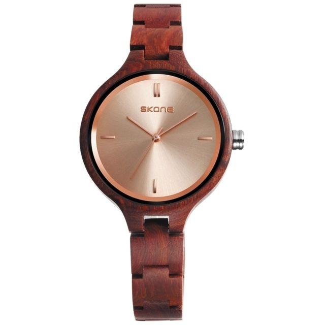 Wewoo - Bracelet en bois Cadran Rond Simple Personnalité Design Mode Femmes  Quartz Montre avec Bande 0e494dfe4d3