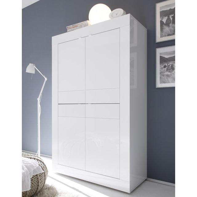 Kasalinea Buffet haut blanc brillant design Ariel