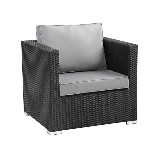 habitat et jardin fauteuil jardin en r sine tress e ibiza atlanta noir pas cher achat. Black Bedroom Furniture Sets. Home Design Ideas