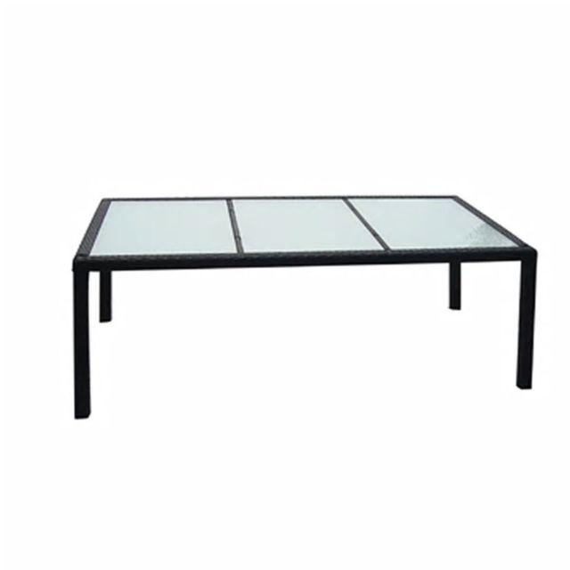 Uco Table de jardin Noir 190x90x75 cm Résine tressée