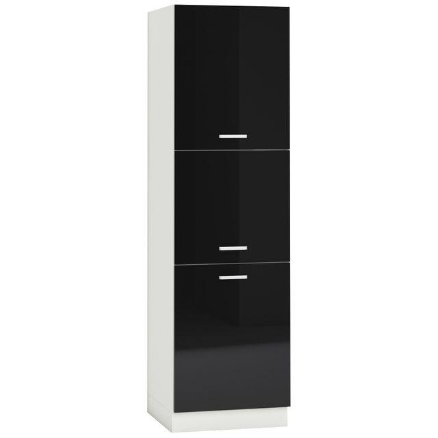 Comforium Armoire colonne de cuisine design 60 cm avec 3 portes coloris blanc mat et noir laqué