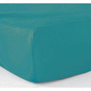 le linge de jules drap housse 140x190 100 coton 57 fils turquoise bleu 140cm x 190cm pas. Black Bedroom Furniture Sets. Home Design Ideas