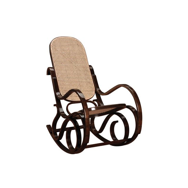 Rocking chair en bois massif coloris noyer
