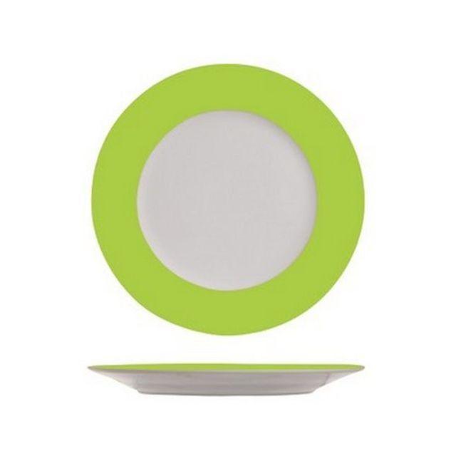 1001DECOTABLE 4 Assiettes plates blanches à bord vert anis