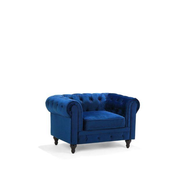 BELIANI Fauteuil en velours bleu foncé CHESTERFIELD - bleu