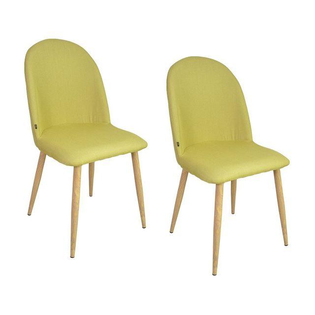 Zons - Aya lot de 2 chaises salle a manger scandinave Anis 45,5x47xH87,5cm