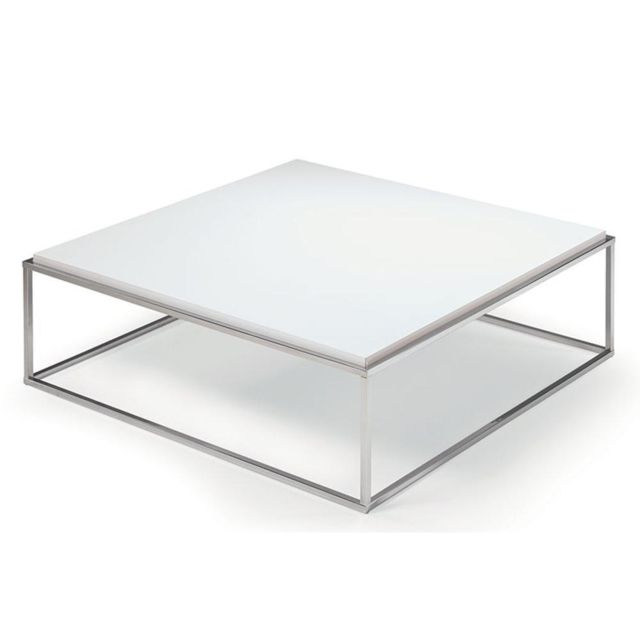 Inside 75 Table basse carrée Mimi Xl blanc mat structure acier inoxydable poli
