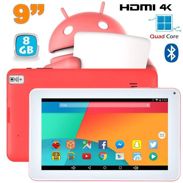 Yonis Tablette 9 pouces Android 6.0 Tactile Hdmi 4K 1,5GHz 1Go Ram Rose 8Go