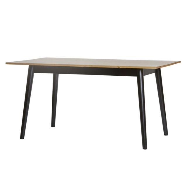 Tousmesmeubles Table de repas pieds Noirs et plateau Bois - Elite