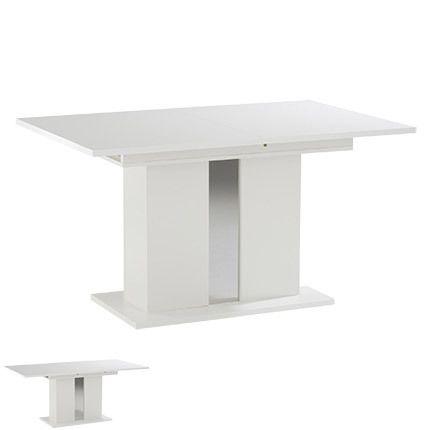 Table à manger extensible 140-180 x 90 x 74cm laquée blanc