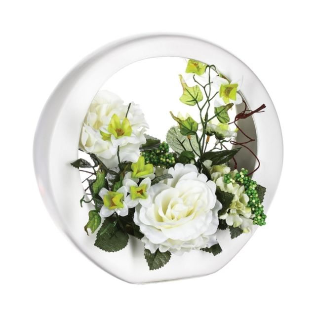 Composition florale de roses blanches - L 26 x l 16 x H 28 cm